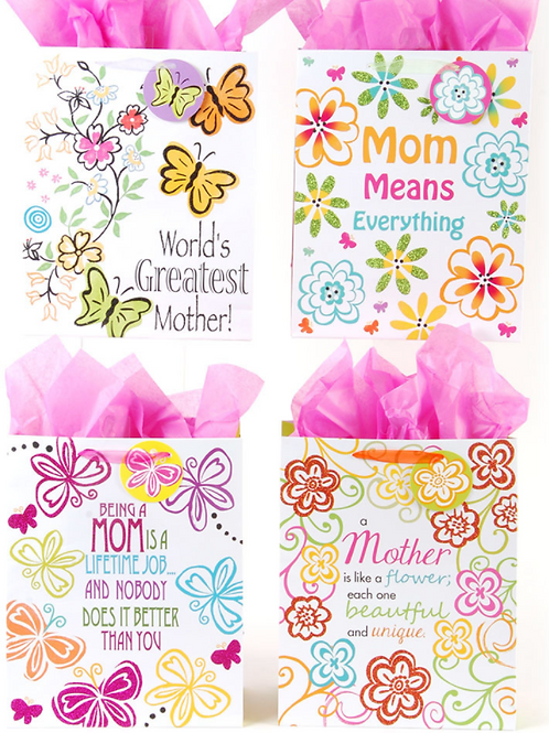 "Classic Tall ""Love Mom"" Gift Bags"