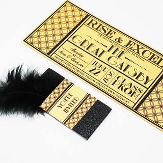 Gatsby Style Invitation Feather & All