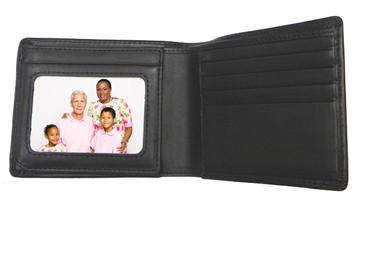 NEW - Genuine Leather Men's Black Bi-fold Wallet with 2 Window ID Holder