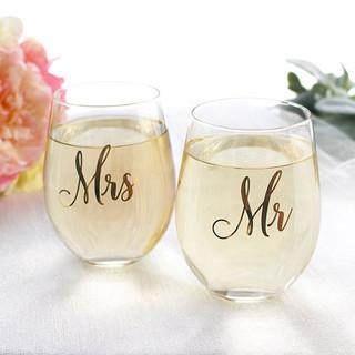 Mr. & Mrs. Stemless Bride & Groom