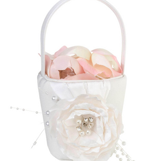 Vintage White Rose Flower Girl Basket