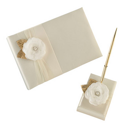 Cream Rose Guest Book & Pen Set