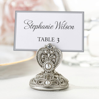 Elegant Silver Jeweled Place Card Holders