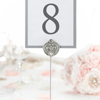 Elegant Silver Jeweled Table Markers