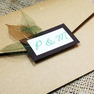 Paige & Mark Custom Woodgrain Invitation Pocket Envelope