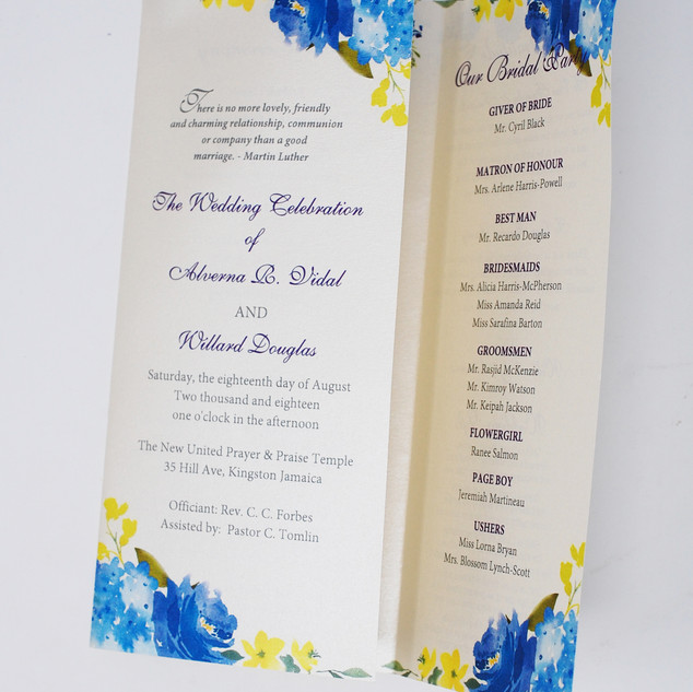 Trifold Watercolour Yellow & Blue