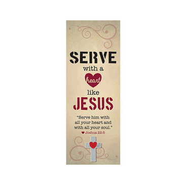 NEW - Serve with a Heart Like Jesus Bookmark with Lapel Cross Heart Pin