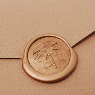 Palm Tree Wax seal on Rustic Envelope