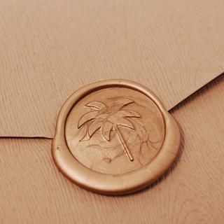 Palm Tree Wax seal on Rustic Envelope