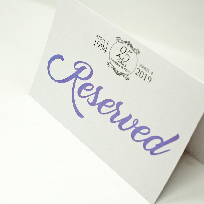 Reserved Table Card