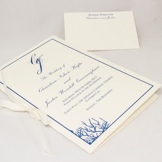 Booklet with ribbon tie on linen cardstock