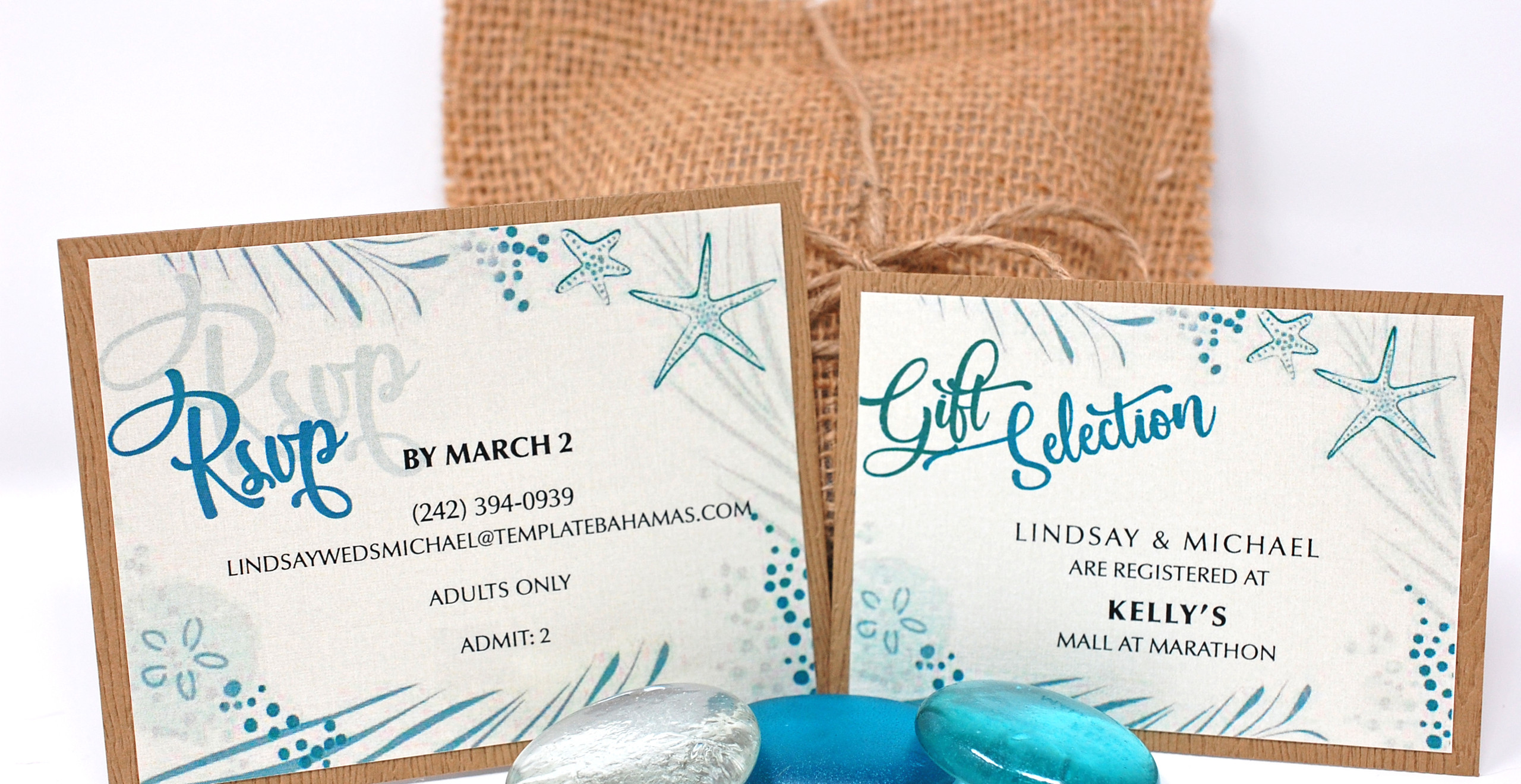 Matching reception and gift selection cards