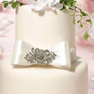 Elegant Jeweled Bow Cake Topper