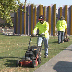 Desert Arc Landscape Maintenance - Client Mowing Lawn