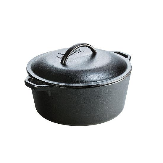 Lodge 4.73 liter Cast Iron Dutch Oven, with loop handles/หม้อสองหูพร้อมฝา