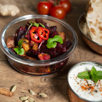 Sri Lankan Beetroot Curry with Spicy Roast Sweet Potatoaes.