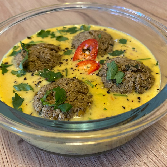 Lentil and Tofu Kofta in a cocunut curry.