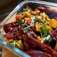Sri Lankan Beetroot Curry with Spicy Roasted Sweet Potato.