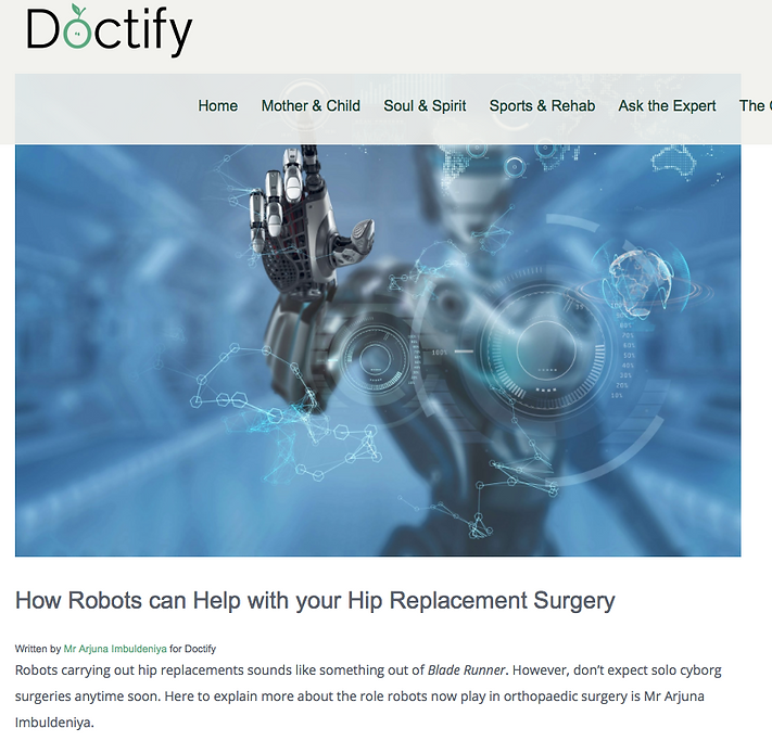 Mr Imbuldeniya London robotic knee and hip surgery