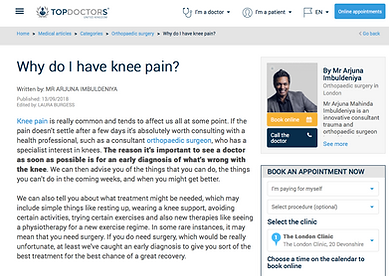 Top Doctor Mr Imbuldeniya knee hip pain specialist london news article