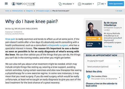 Why do I have knee pain london clinic top doctor specialist