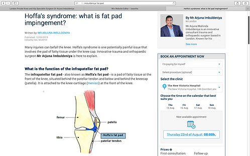 What is hoffa's fat pad pain knee london