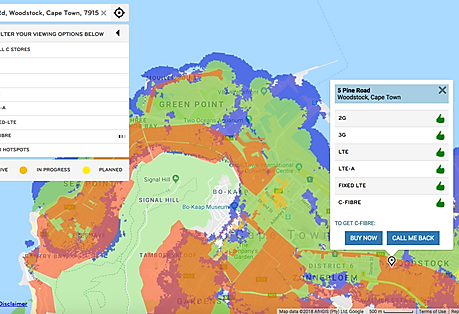 One of our Network Coverage Map Solution we did for a Telecom provider. You notice the different layers colors. One color for each network services. Easily the user can type his address in the search bar, and see which servies are avaible within his area.