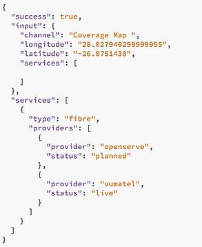 Network Coverage API code.