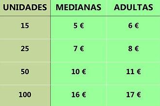 Tabla precios alimento vivo (B. dubia)