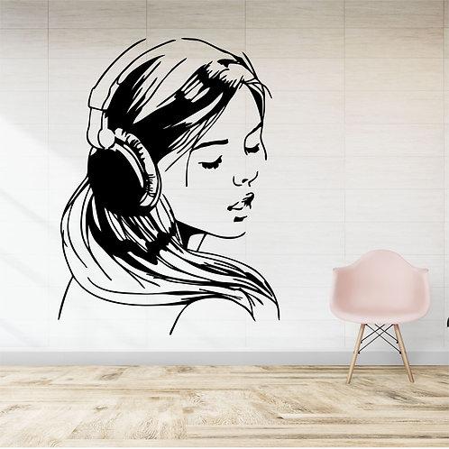 """Vinyle Music """"Fille écoutant de la musique 2"""""""
