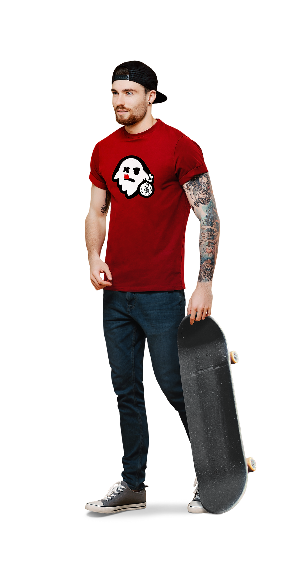 Tattoed skater holding skateboard walking, wearing a ghost graphic red shirt, wearing jeans and chucks.