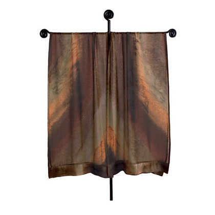 hand painted silk Ruana in ombré tones of warm deep browns with reddish brown. Inspired by red-rock monoliths of the Arizona