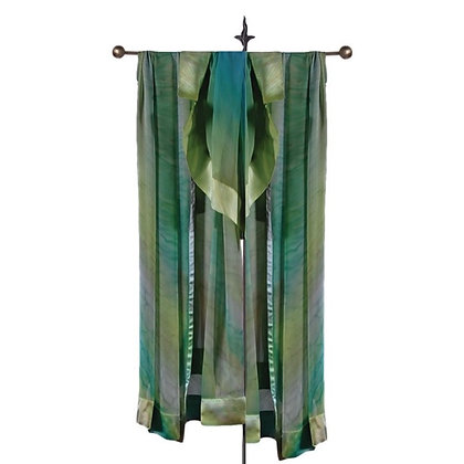 Hand Painted Silk Ruana, Sheer Silk Shawls, ombré of classic pastel shades of translucent green