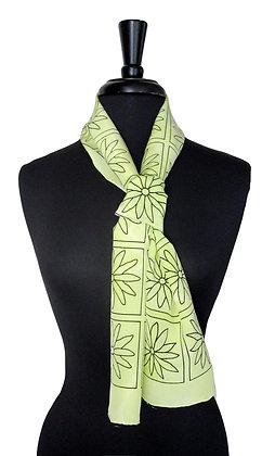 Bold Acid Yellow Daisy Chain Print Scarf petite 8 x 54 inch scarf