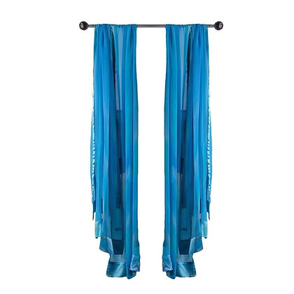 Hand Painted Silk Ruana, Sheer chiffon, satin trimmed ombré of soft turquoise, aqua and silver on a tall silver display stand