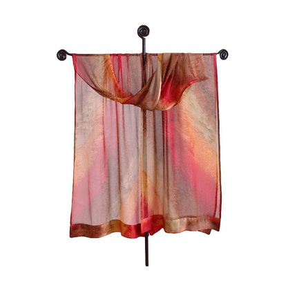 Maroc hand painted silk ruana, ombré of sunny gold, deepest red and golden beige