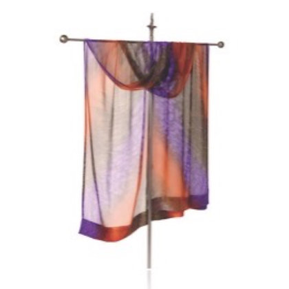 Hand Painted Silk Ruana in a mesmerizing ombré of violet, terra cotta and sienna brown displayed on a silver display stand