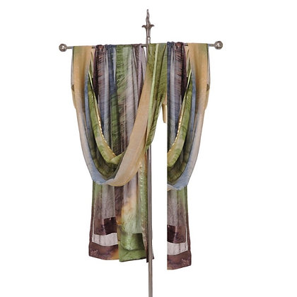 Hand Painted Silk Ruana, Sheer silk wrap ombré champagne, delicate heathery taupe and earthy spring green.