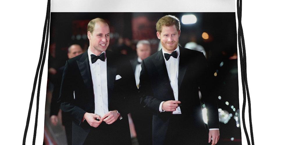 Custom Designed Prince Harry & Prince William Drawstring bag