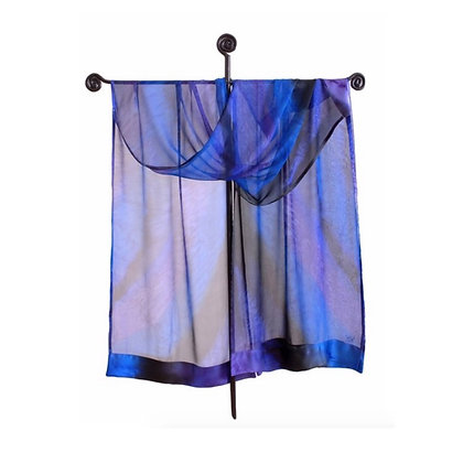 Sheer silk ruana, ombré of blue and purple tinted with black combining serene tones of lavender, gray and midnight blue