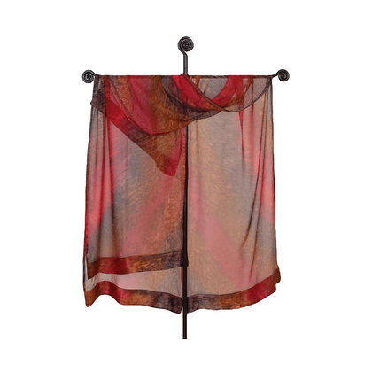 Hand Painted Silk Ruana, ombré of deepest red with rich shades of brown Sienna and dark chocolate brown on a tall display