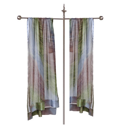 Hand Painted Silk Ruana Shawl ombré of delicate heathery taupe with earthy spring green and silver on a tall silver display