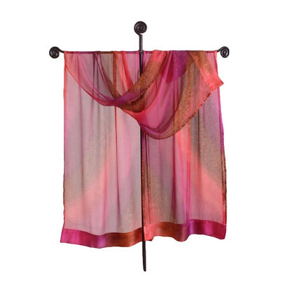Hand Painted Silk Ruana, Sheer satin trimmed chiffon wrap or shawl in ombré of warm shades of red on a metal stand
