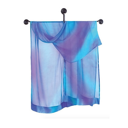 hand painted silk Ruana in ombré tones of ethereal blue and lavender purple