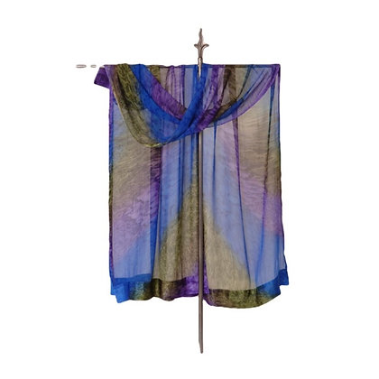 Hand Painted Silk Ruana Royal Verdigris, ombré of royal blue, purple, copper, pewter with a patina of bronze.