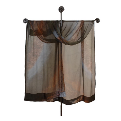 Silk Ruana from the Earth Collection embodies a striking ombré palette of silvery grey, deep chocolate brown and espresso