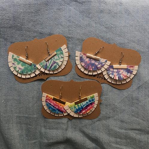 Tie Dye Boho Layered Fan Earrings