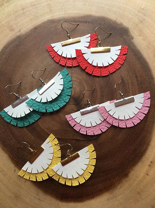 Boho Layered Fan Earrings
