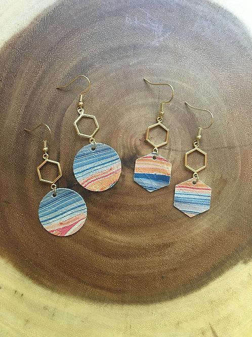 Hexagon Geode Earrings