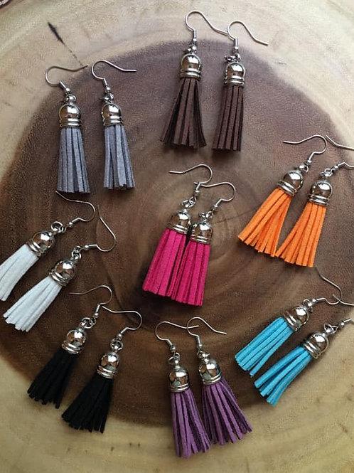 Silver Finish Tassel Earrings
